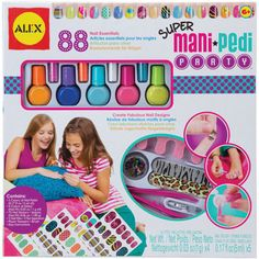 Super Mani Pedi Party $24.99 http://catalog.karens4toys.com/super-mani-pedi-party-p-42005.html#.VId2STHF9j4 Mix friends, fun and fashion with stylish party activity! Paint your nails in the coolest colors, then style them with glitter, sequins and funky nail appliques. Five safe polish colors, tons of accessories and easy instructions included. Ages 6+. #toys #ToyStore #fun #kids #Toys4Kids #Fun4Kids