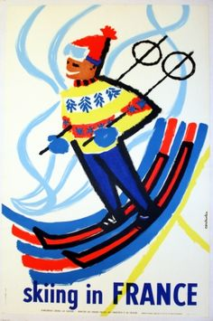 Skiing in France, 1959 - original vintage poster by Constantin listed on AntikBar.co.uk