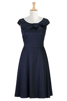 I <3 this Bow-tied stretch cotton satin dress from eShakti. Can I have it??? I want it SO bad!