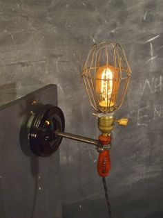 Vintage Industrial Cage Light with Wall Mount  by DWVintage, $116.95