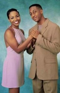Black sitcom couples - Laura Winslow and Steve Urkel's alter ego, Stefan (Family Matters)