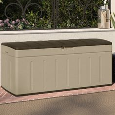 Found it at Wayfair - Blow Molded 99 Gallon Resin Deck Box Storage Shed Kits, Hose Storage, Patio Storage, Wood Storage Sheds, Outdoor Storage, Storage Trunk, Storage Ideas, Cheap Furniture Stores, Plastic Decking