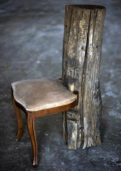 Upright log, chair seat.