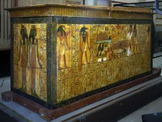 Coffin of Khonsu, Sennedjem's son, from Deir el-Medina. Neith and Serket at the feet end. XIX Dynasty. Ancient Egypt.