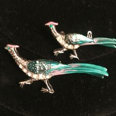 Vintage Scatter Pins Enamel & Rhinestone Pheasant Peacock Birds Nashville Estate #unbranded