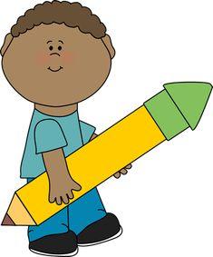 Boy Carrying Big Yellow Pencil