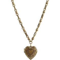 Etro Heart Locket Necklace ($369) ❤ liked on Polyvore featuring jewelry, necklaces, accessories, gold, chunky necklaces, engraved locket necklace, chunky heart necklace, gold tone necklace and gold tone chain necklace