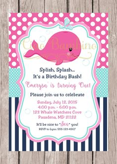 PRINTABLE Pink Whale Birthday Party Invitation Navy Blue Hot And Aqua Girls You Print