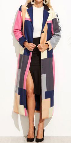 Color Block Notch Collar Button Front Long Coat
