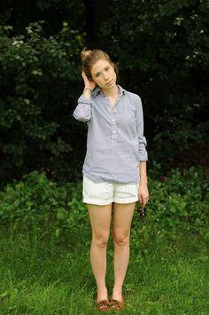 Button up, eyelet shorts, moccasins.