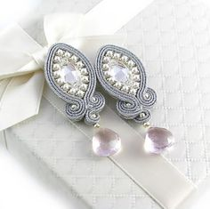 WEDDING BRIDAL soutache EARRINGS Lady Teck by byPiLLowDesign, $50.00