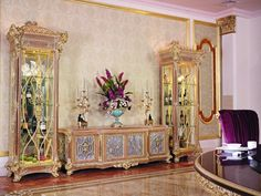 luxury curio cabinet and floor cabinet