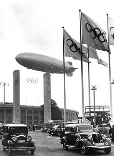 The Hindenburg floating over Berlin's Olympic Stadium during the 1936 Olympics opening ceremony.