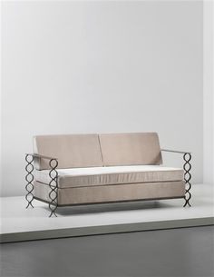 Jean Royère; Painted Wrought Iron, Brass and Fabric Unique 'Ruban' Sofa, c1950.