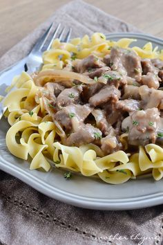 An easy recipe for Slow Cooker Beef Stroganoff. Tender beef simmered in a delicious sauce in the slow cooker and served over egg noodles or rice.