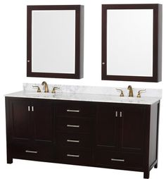 Abingdon Espresso with Medicine Cabinet Mirrors and Undermount Porcelain Sinks - transitional - Bathroom Vanities And Sink Consoles - Home Living Style