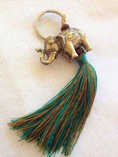 Items similar to Brass elephant keychain with tassel on Etsy Diy Tassel, Tassel Jewelry, Diy Jewelry, Tassel Necklace, Jewelery, Jewelry Making, Leather Jewelry, Elephant Keychain, Saree Tassels
