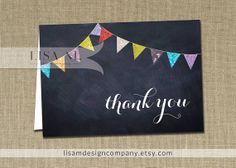 Thank You Card INSTANT DOWNLOAD 3x5 FOLDED card Chalkboard Rainbow Pennant Banner Bunting Wedding Birthday Fill-In Notecard - Carrie Style