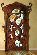 Nice door with tree trunk designs and stained glass - Lance Jordan Creations. Armoire, Mirror, Ideas, Treehouses, Furniture, Home Decor, Footlocker, Homemade Home Decor, Closet