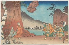Life of Nichiren: Rock Suspended by the Power of Prayer  Utagawa Kuniyoshi  (Japanese, 1797–1861)  Period: Edo period (1615–1868) Date: ca. 1835 Culture: Japan Medium: Polychrome woodblock print; ink and color on paper