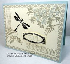 The colors I used on this card are Sahara sand, Soft sky and Early espresso.  I used the DSP Timeless Elegance, page 143 and the stamp set, Awesomely Artistic, page 125.   The card stock is Very Vanilla and Soft Sky.