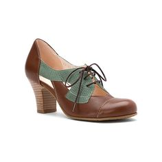 Fidji V557  Lace-Ups ($140) ❤ liked on Polyvore featuring shoes, oxfords, brown green, dress shoes, women, brown shoes, browns oxford, two tone dress shoes, brown oxford shoes and brown dress shoes