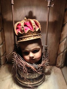 Santos Doll Head in Birds Nest made from a baby doll head with dark wax painted all over and in an antique pickle castor- White Horse Relics BullDoll Inspiration Baroque, Creepy Baby Dolls, Collage Book, Found Object Art, Dark Wax, Shabby, Doll Parts, Assemblage Art, Naive Art