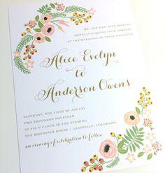 Wedding Invitation - Wildflower Design, Flower Wedding Invitations - Mountains Wedding Invitation - Floral, Spring - SAMPLE