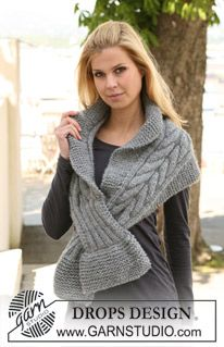 "DROPS scarf  125-19 - with cables in ""Eskimo"". ~ DROPS Design"