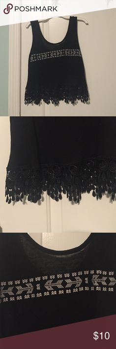 Super soft black crop top with hanging detail Black crop top with Aztec prints on the bust with cute shingle detailed hanging at the bottom. Perfect with a pair of jeans. Worn once Roommates TM Tops Crop Tops