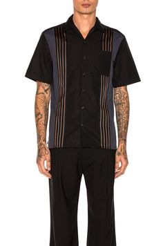 Image 1 of Lanvin Striped Bowling Shirt in Black