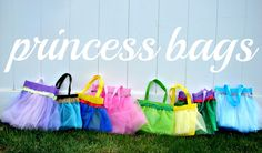 Princess Bags Tutorial | A Girl and a Glue Gun  (I would gather the tulle on a sewing machine, then draw a line on the bag with a disappearing ink pen before gluing it on...)