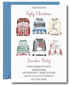 Are you throwing an ugly sweater party this holiday season? Invite your guests with this ugly sweater invite. Graduation Invitation Wording, Luau Invitations, Christmas Party Invitations, Birthday Party Invitations, Baby Shower Invitations, Invite, Invitation Templates, Tacky Christmas Sweater, Ugly Sweater Party