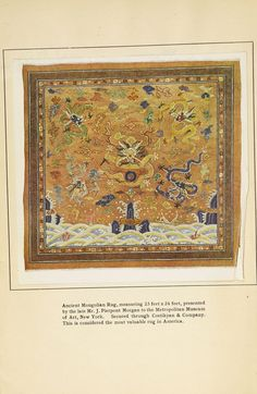 Special list of fine Persian rugs : in carpet sizes over ten feet in length. 1913. Metropolitan Museum of Art (New York, N.Y.). Thomas J. Watson Library.Trade Catalogs.  #tradecatalog #costikyanandco #carpet | Circa 1913, this Mongolian rug was considered the most expensive in America.