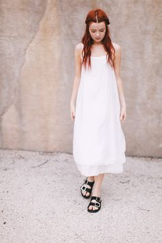 White dress and black Birkenstocks - Sea of Shoes