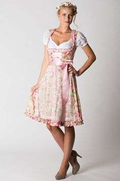 Dirndl pink rose German dress.