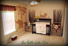 Our Little Cub's Den -  Sleepy Safari Adventure: Our safari nursery decorating ideas were all designed to complement our Safari baby bedding set. My husband and I decided on the Sleepy Safari baby bedding