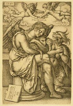 Hans Sebald Beham (German, 1500-1550), Pacientia (Patience), 1540. Engraving. Philadelphia Museum of Art