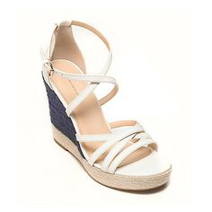 Strappy Espadrille Wedge in White or Havana | Tommy Hilfiger & Zooey Descanel capsule collection. | Tommy Hilfiger