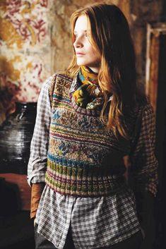 Ukraine by Marie Wallin, made in Rowan Colourspun and Tweed -- Rowan Magazine 54 (British kntting/crochet magazine)