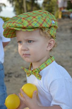 Flat Cap, Newsboy Cap, Driving Cap, Golfing Cap, Children's hat, Kids Cap:  Hudson wearing the JoJo flat cap with matching bow tie from Henry Hats of Hawaii
