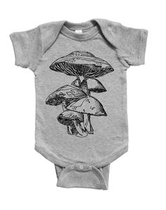 Funny Baby One Piece - Baby Shower Gift Idea - Unique New Mom Gift - Baby Girls or Boys Layette - Mushroom - Grey Baby Clothes - Unisex - Baby Girl Gifts, Baby Girls, Unique Baby Shower Gifts, Unisex Baby Clothes, Gifts For New Moms, Funny Babies, Baby Boy Outfits, Mushroom, One Piece