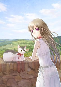 ✮ ANIME ART ✮ pretty girl. . .long hair. . .countryside. . .hills. . .nature. . .stone wall. . .cat. . .cute. . .kawaii