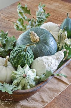 Simple Fall Centerpiece with Pumpkins Isn't this dough bowl filled with fall squash, gourds, and pumpkins beautiful for the dining room table? Thanksgiving Decorations, Seasonal Decor, Vibeke Design, Fall Arrangements, White Pumpkins, Fall Pumpkins, Dough Bowl, Autumn Decorating, Fall Table
