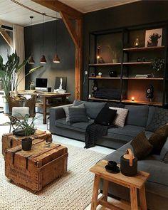 114 cozy small living room decor ideas for your apartment 18 Loft Interior, Interior Exterior, Modern Interior, Interior Ideas, Living Room Furniture, Living Room Decor, Warm Living Rooms, Cozy Living, Wooden Furniture