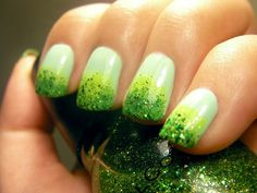 pale green to spring green to green glitter mani