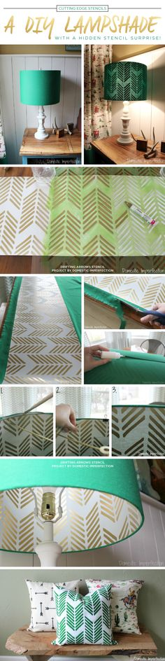 Cutting Edge Stencils shares a DIY lampshade idea using the Drifting Arrows stencil pattern in gold. http://www.cuttingedgestencils.com/drifting-arrows-stencil-pattern-diy-decor.html