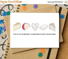 Cheesy Valentine's Card - Funny Valentine's Card - card for foodies - funny valentine - anti-Valentine's card - card for cheese lovers by BeckaGriffin on Etsy https://www.etsy.com/listing/256882789/cheesy-valentines-card-funny-valentines