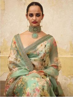 Mint Green Color Floral Saree from Sabyasachi 2019 Collection. For more details please contact us through WhatsApp Floral Print Sarees, Saree Floral, Sabyasachi Sarees, Indian Sarees, Indian Mehendi, Indian Wedding Outfits, Indian Outfits, Indian Clothes, Indian Attire