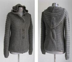 Cardigans & Strickjacken - MOHAIR GROBSTRICK CARDIGAN MIT KAPUZE - ein Designerstück von secret-of-style bei DaWanda